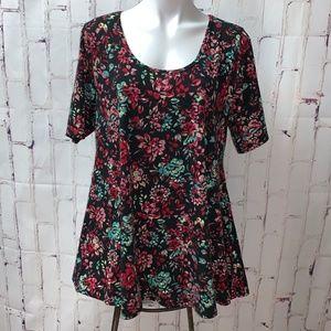 LulaRoe Floral Black Perfect T Swing Top XL NWOT